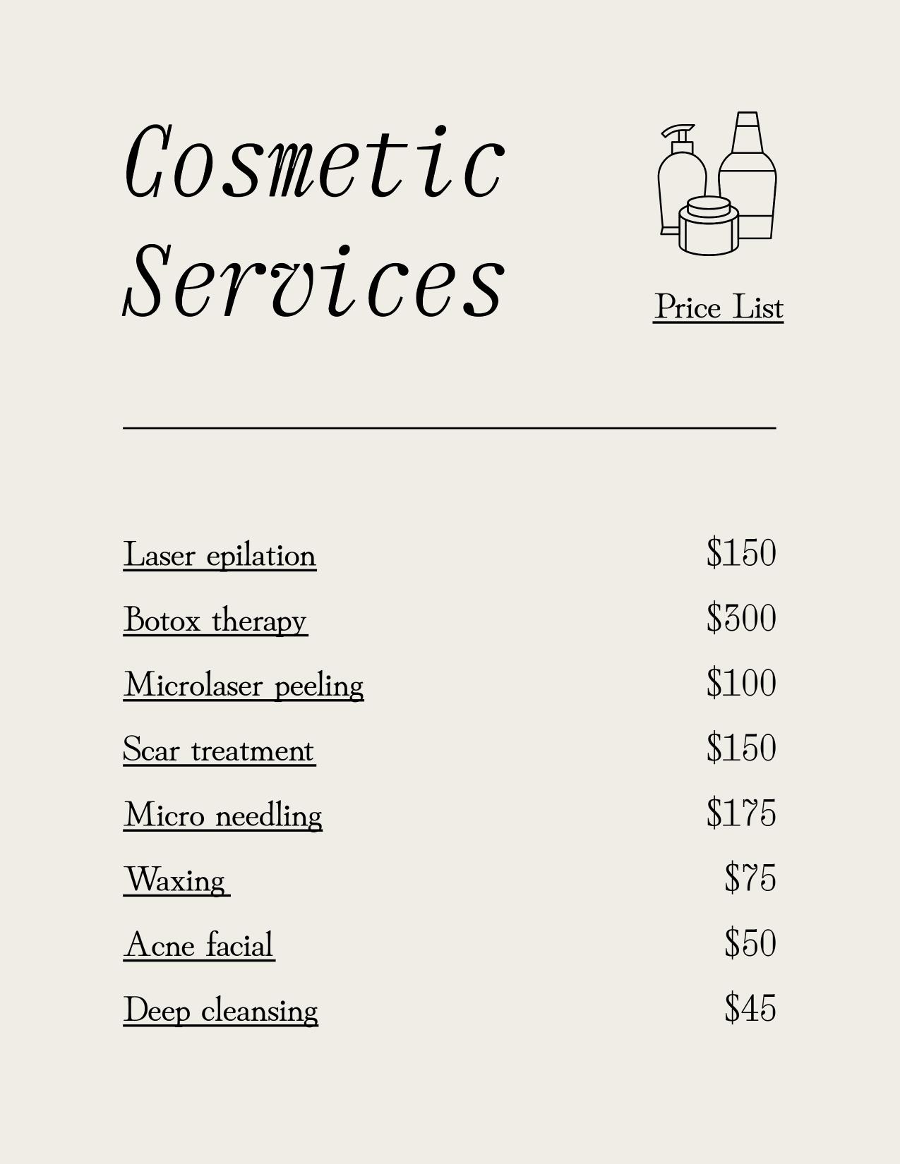 Minimalist beauty industri price list template design