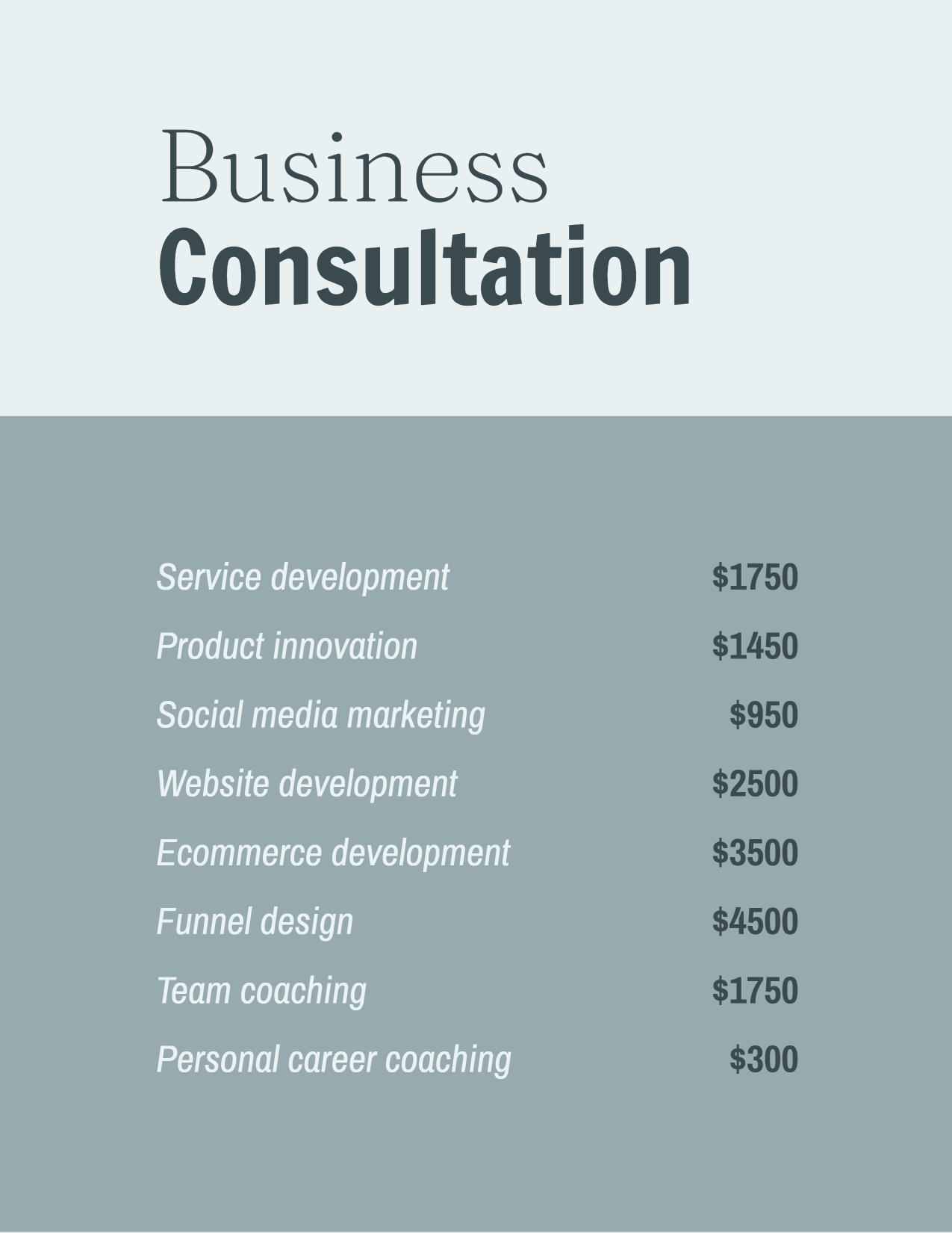 Business consultation services template