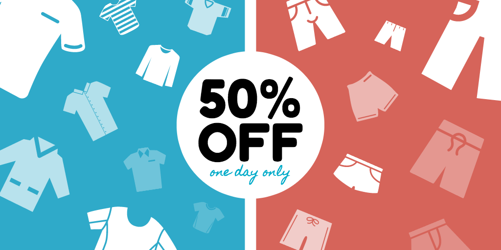 50 % off one day only