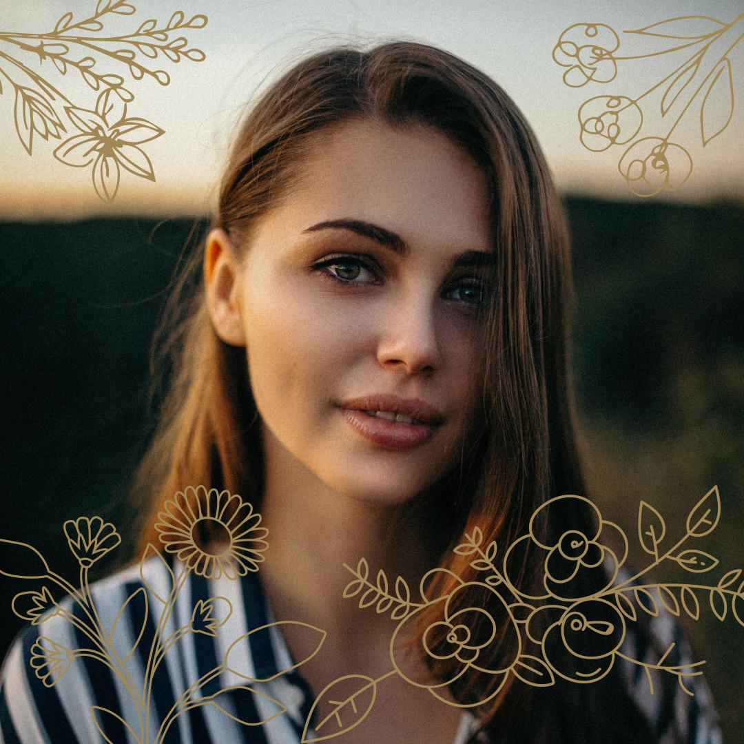 Flower-ornamented profile picture design