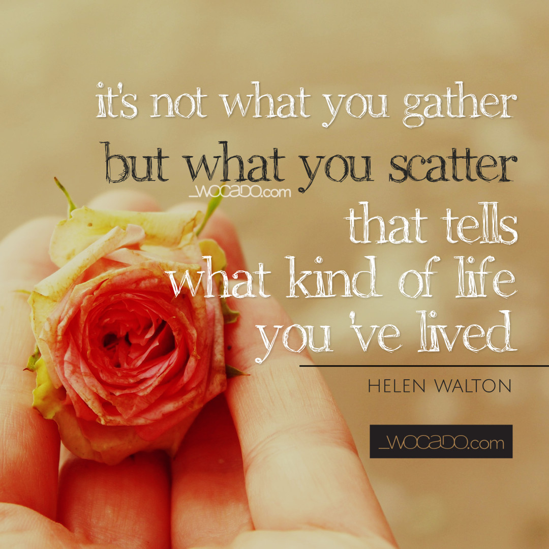 what kind of life you've lived -wocado quote