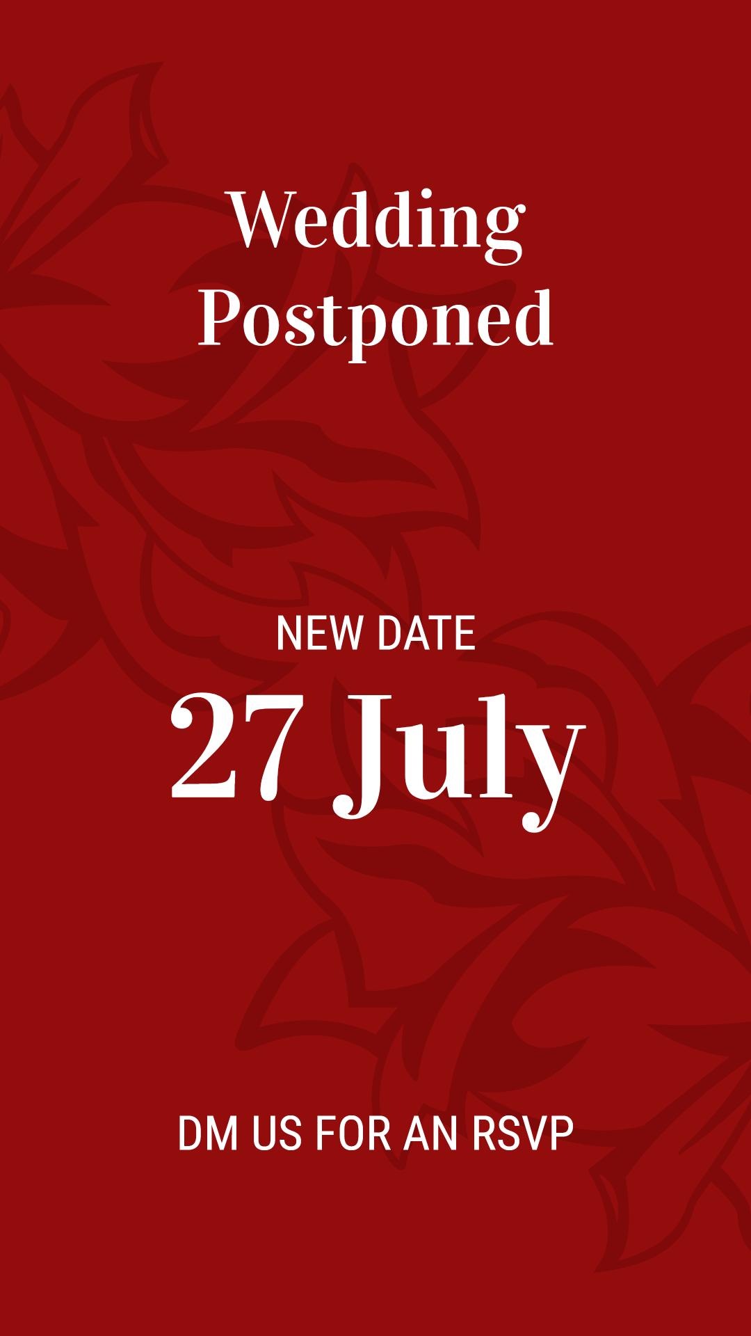Wedding Postpones to 27 July
