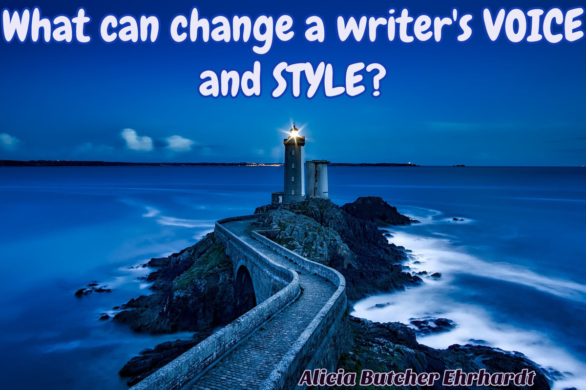 Lighthouse at night at end of pier. Text: What can change a writer's voice and style? Alicia Butcher Ehrhardt