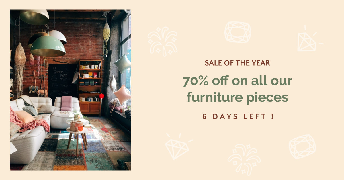 70% off on all our furniture pieces