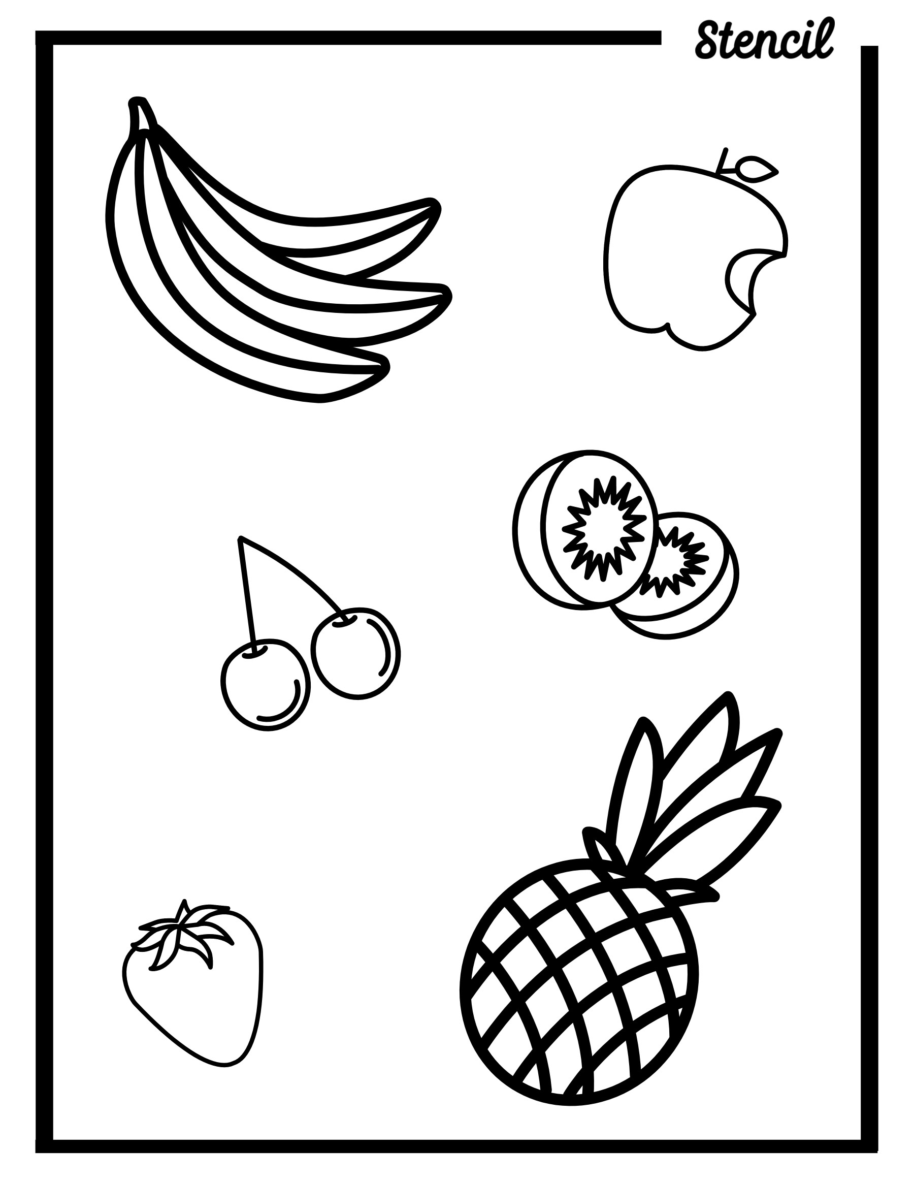 Variety of Fruits Outline