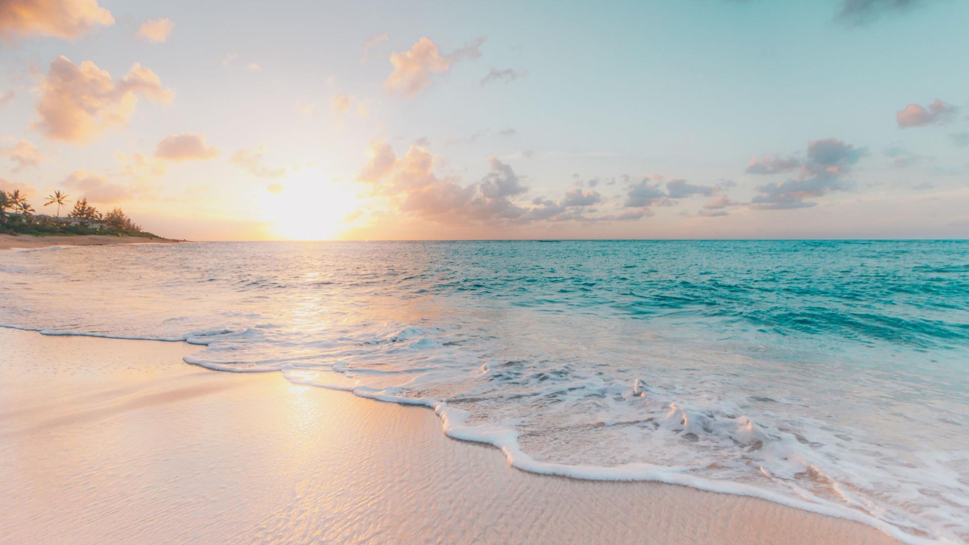White Sand Beach Sunset - Zoom Virtual Background