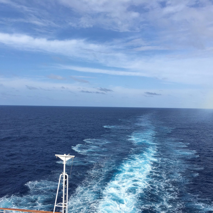 Looking out from the back of the ship (aft)