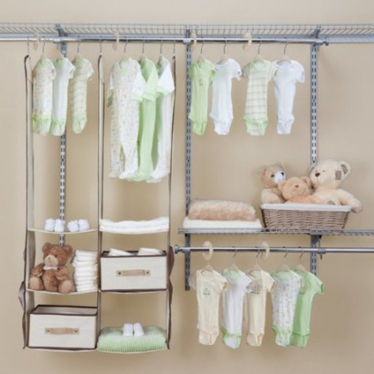 Nursery closet organization.  Love that everything is adjustable to grow as your baby does.