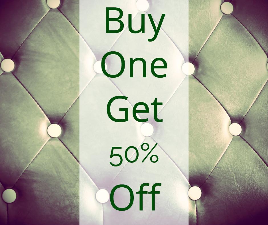 Buy one get 50% off
