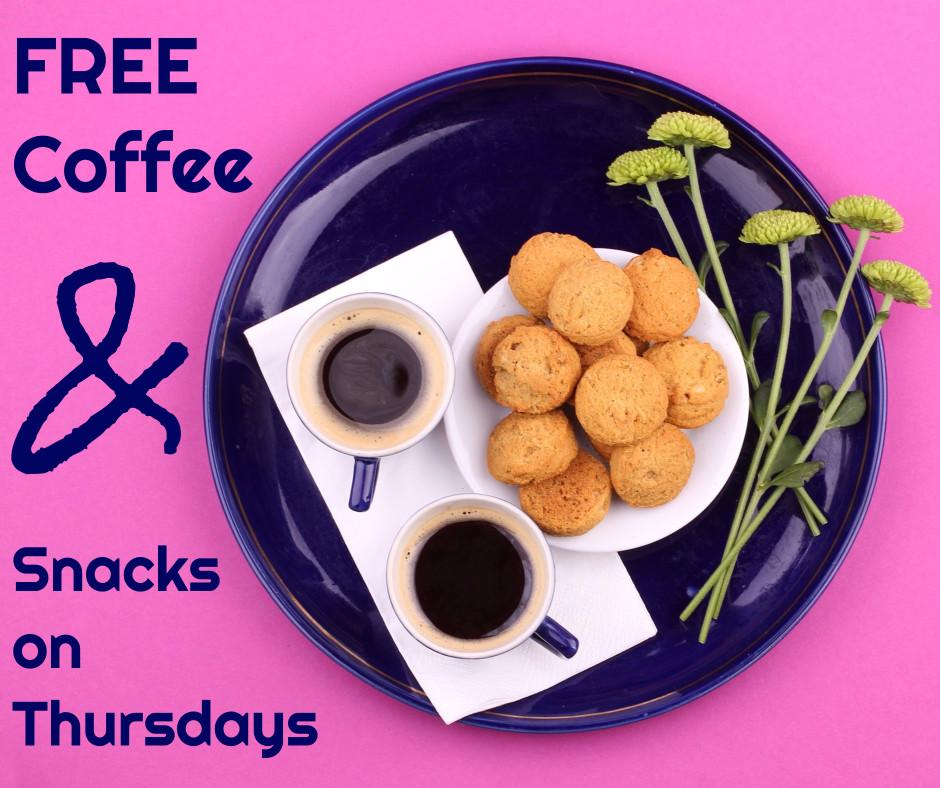 Free coffee & snacks on Thursdays