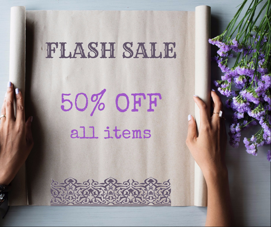 Flash sale 50% off all items